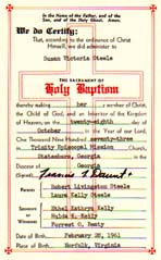Baptism as citizenship papers