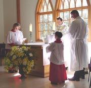 Gathering round the altar for our communion service