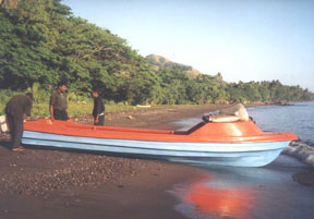 members of the Melanesian Brotherhood with a boat