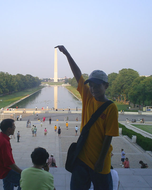 A scout from our troop with the monument